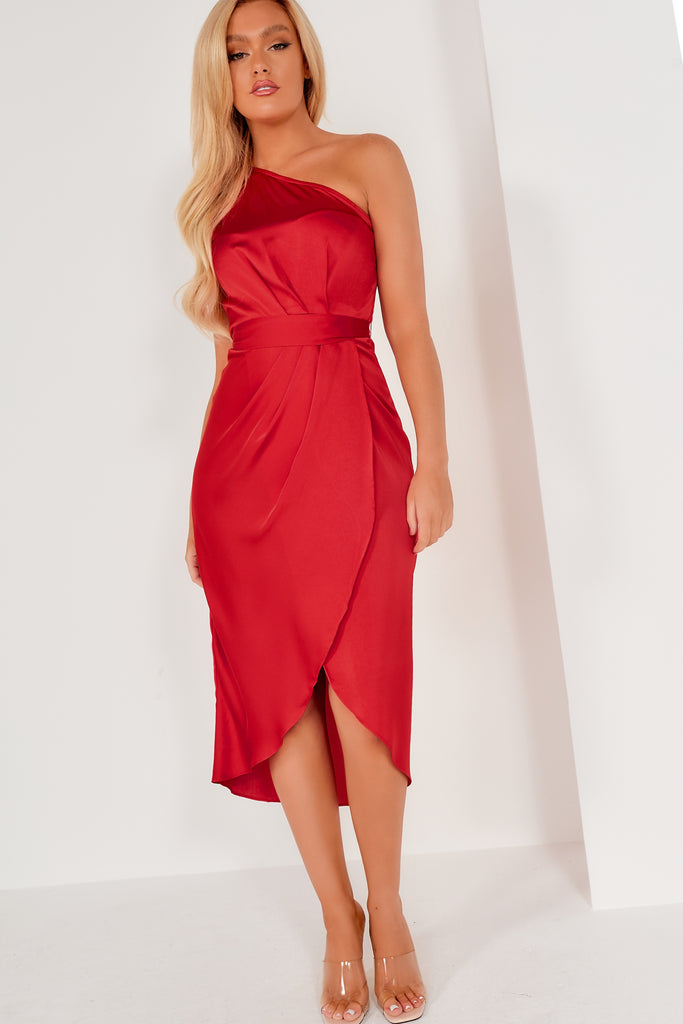 Frikka Red Satin Midi Dress