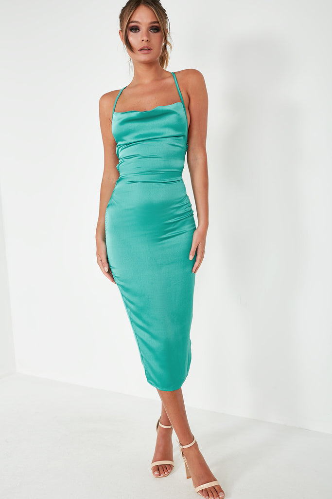 Frikka Turquoise Satin Midi Dress