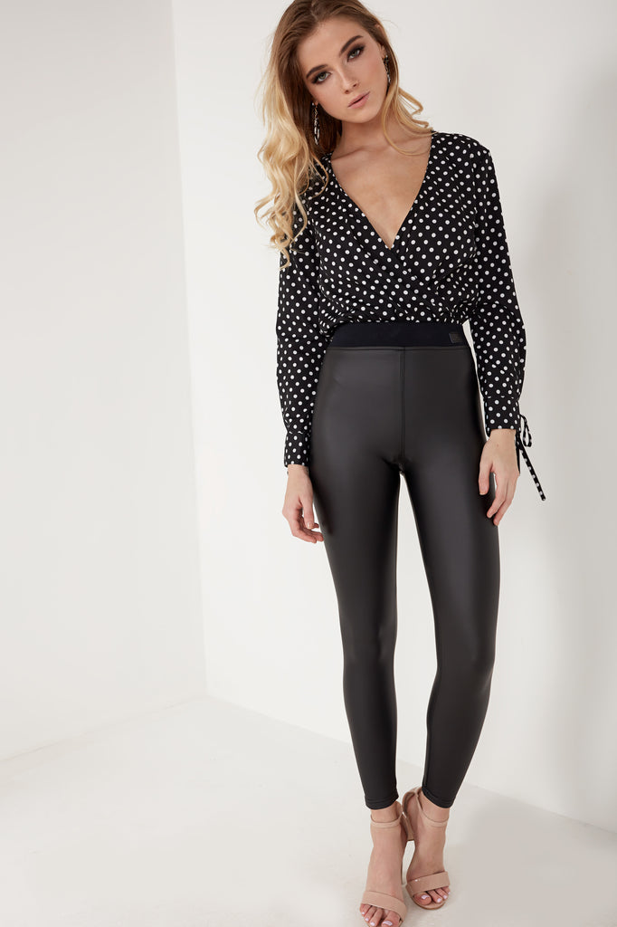 Fritha Black Polka Dot Wrap Over Bodysuit