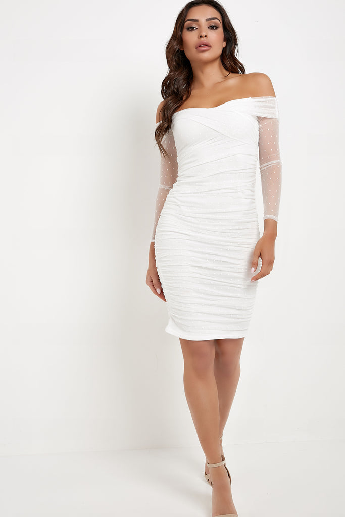 Frona White Dobby Mesh Bardot Midi Dress