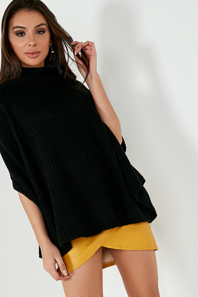 Gabby Black Knit Cape Jumper (1703040974914)