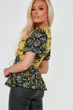 Gabriela Yellow and Black Ditsy Print Top