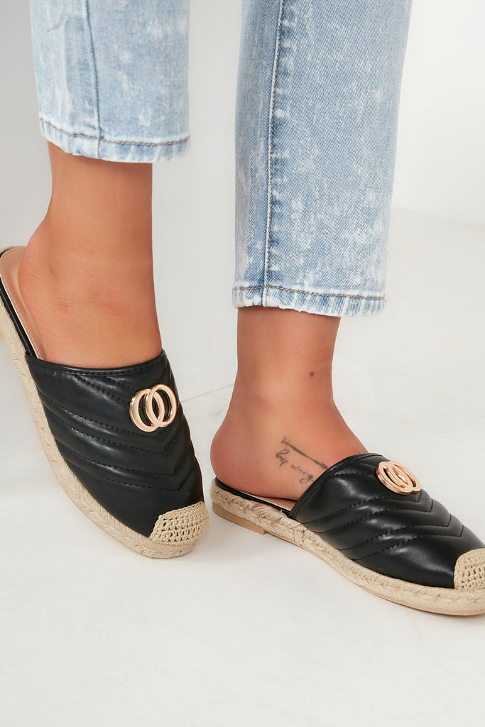 Gabrielle Black Quilted Espadrille Mules