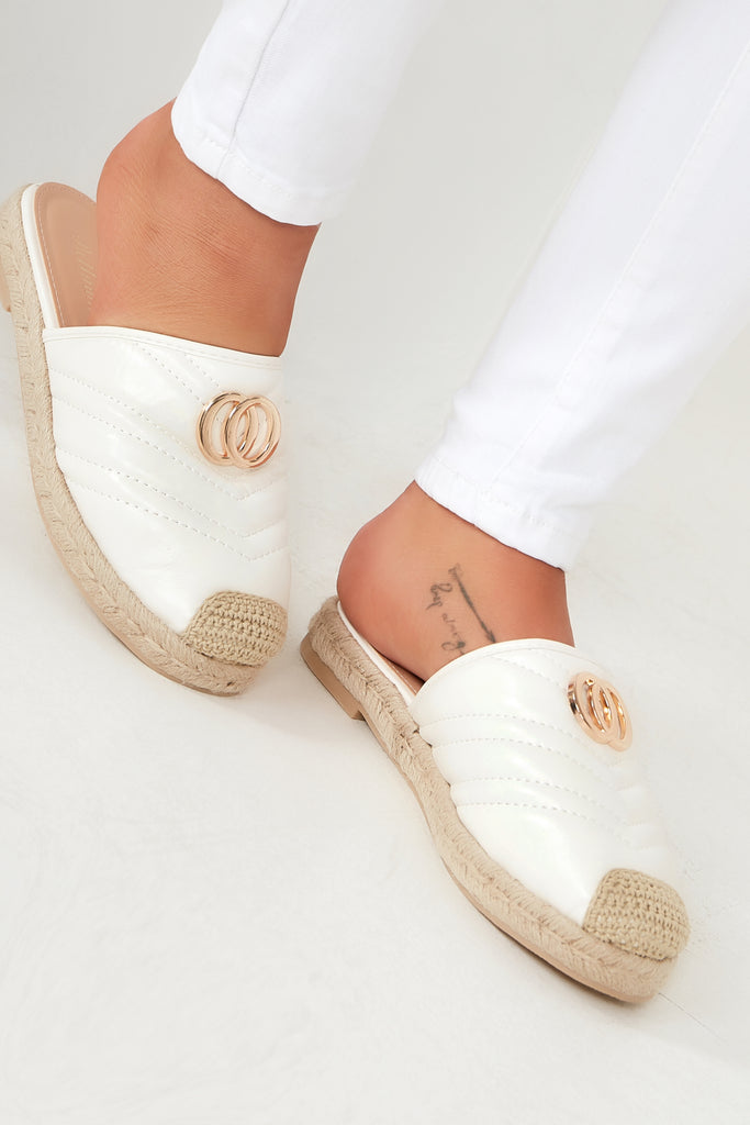 Gabrielle White Quilted Espadrille Mules