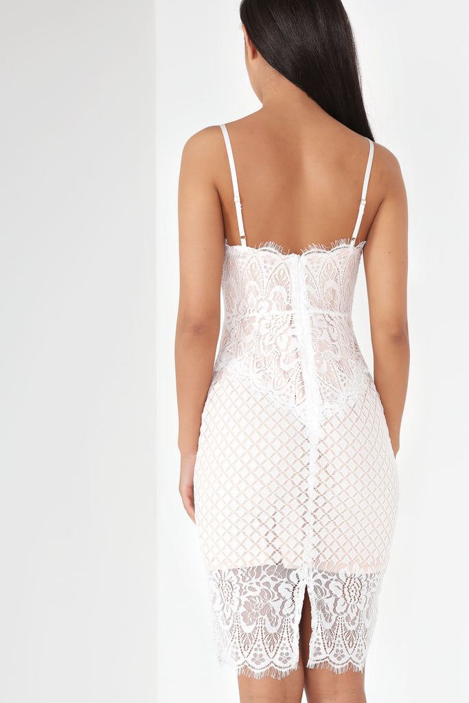 Gaia White Lace Midi Dress