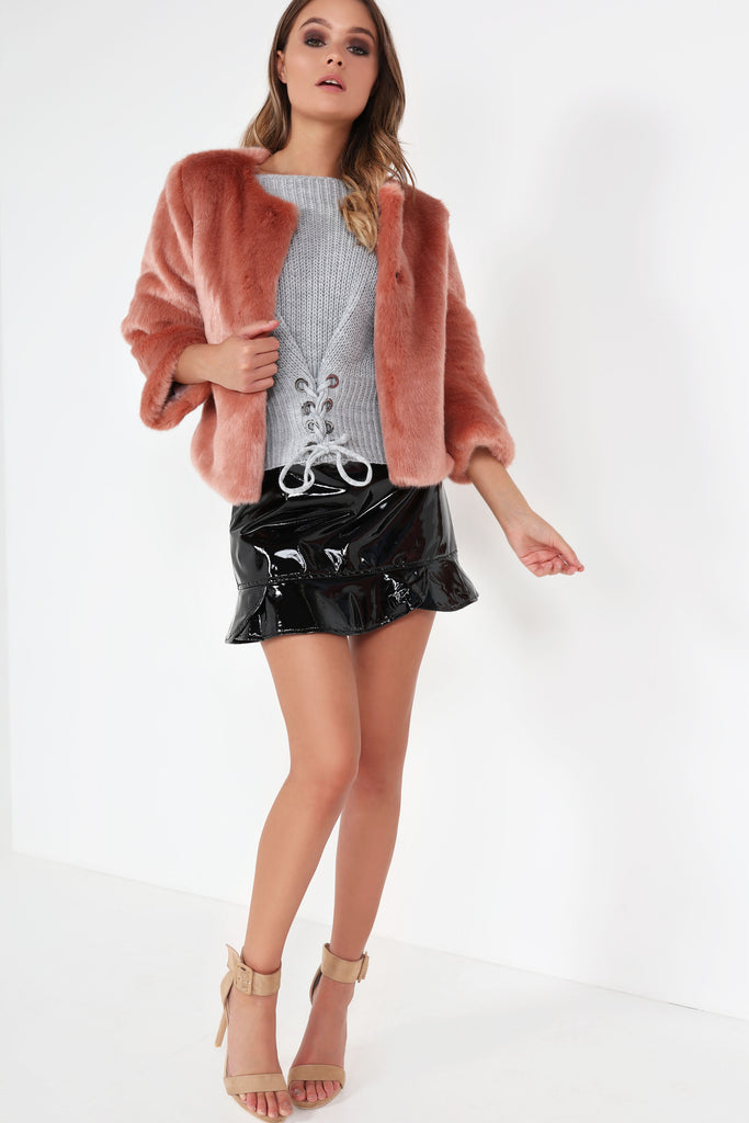Galina Pink Faux Fur Short Coat