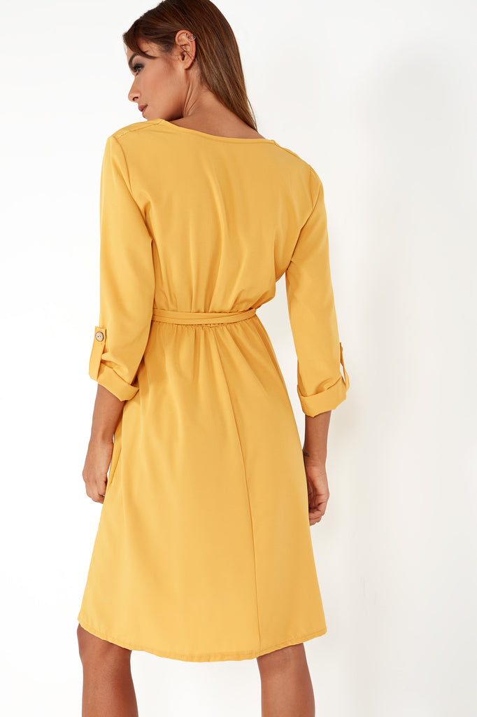 Galvie Mustard Button Front Midi Dress