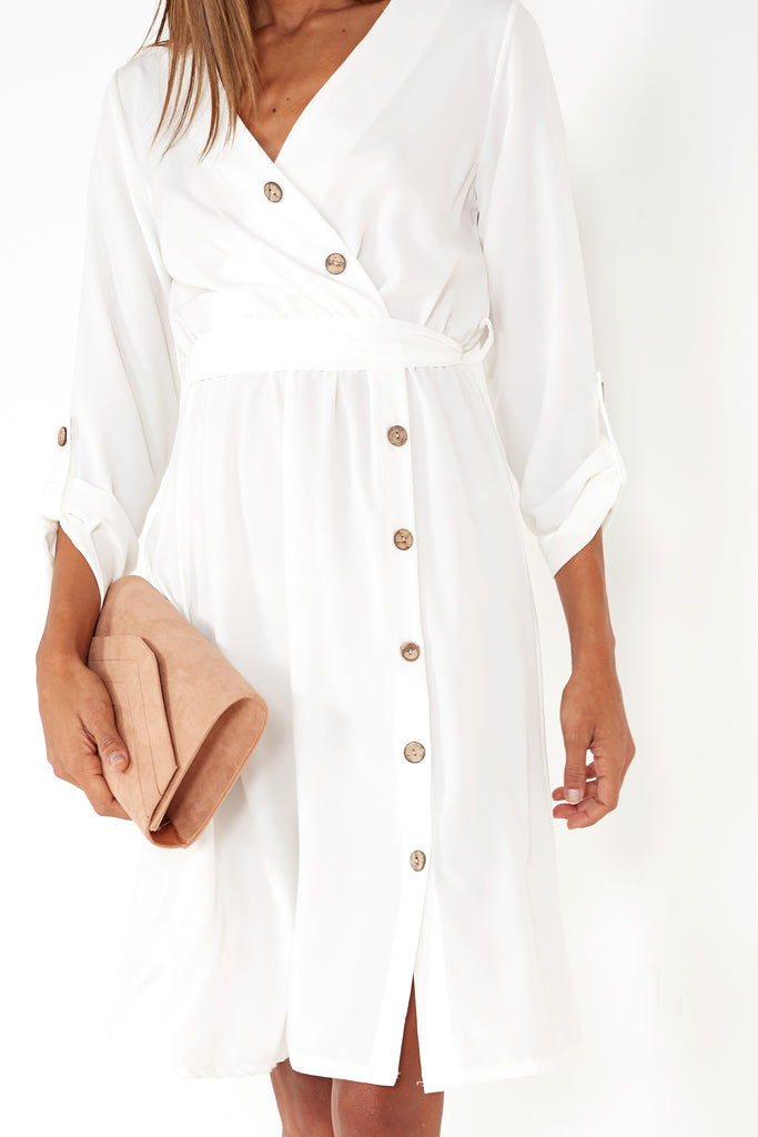 Galvie White Button Front Midi Dress