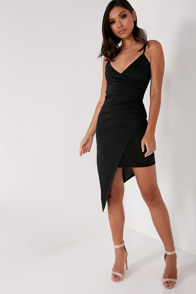 Garcia Black Slinky Asymmetric Cami Dress