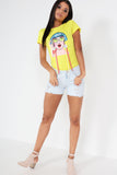 Garri Yellow Face Motif Printed T Shirt