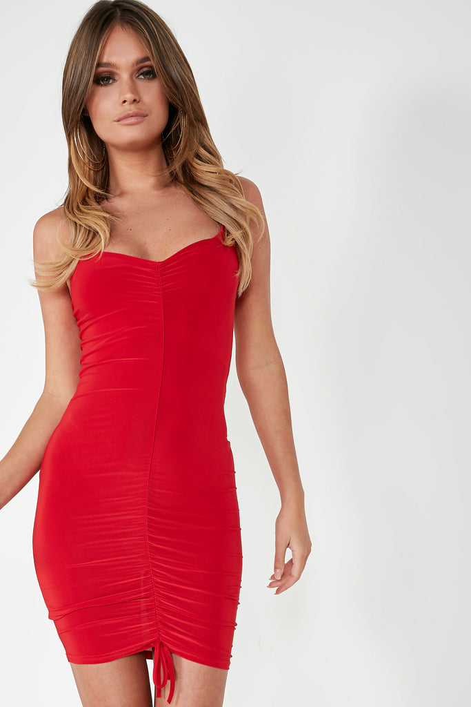 Gem Red Ruched Front Mini Dress (1736285257794)