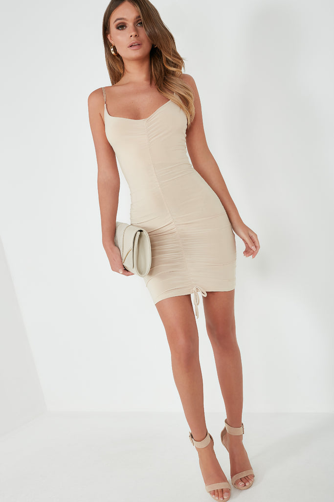 Gem Stone Ruched Front Mini Dress
