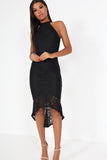 Gemma Black Lace Dipped Hem Maxi Dress