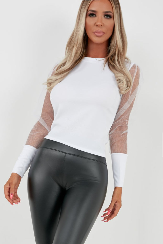 Gemmie White Tulle Puff Sleeve Sweater (4170513678402)