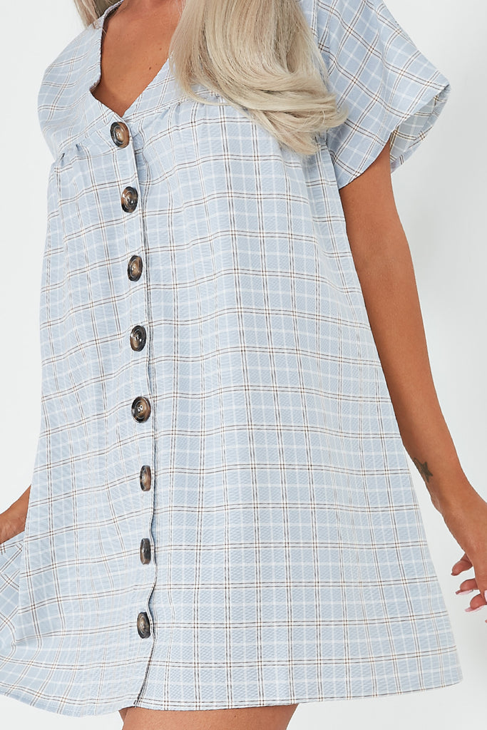 Gene Grey Check Smock Button Dress
