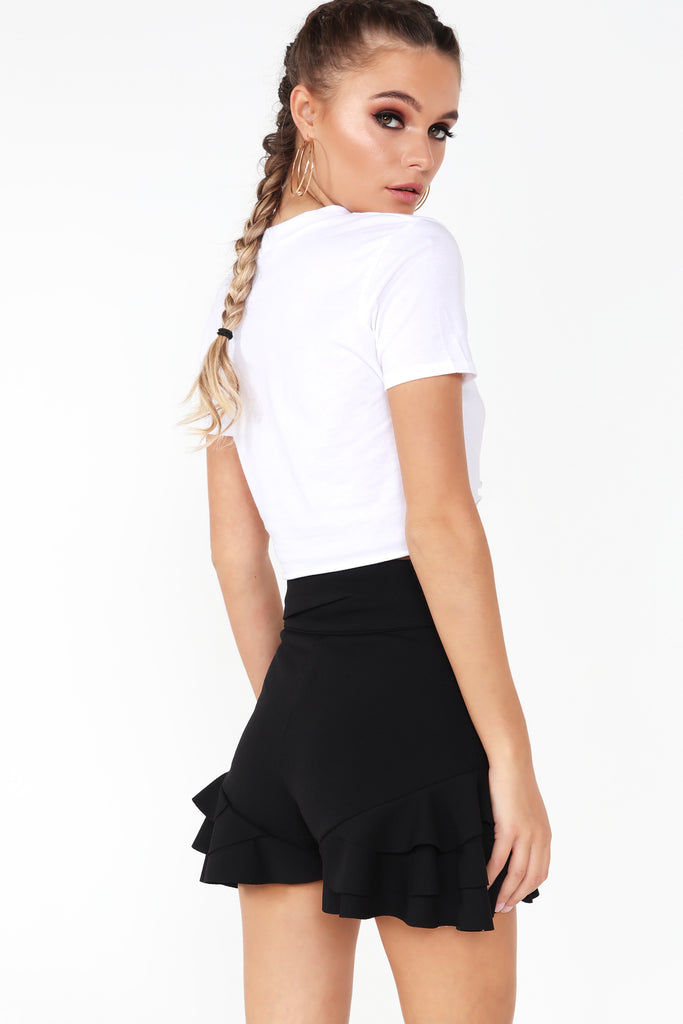 Geneva Black Frill Shorts