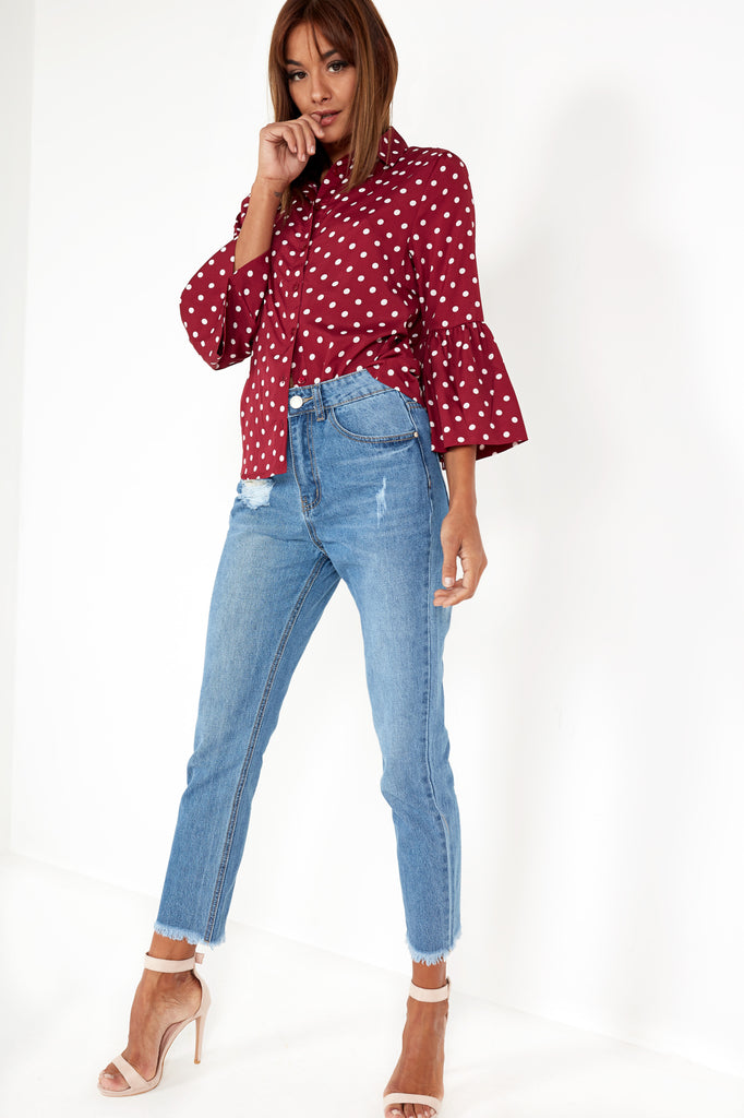 Genevieve Wine Polka Dot Shirt