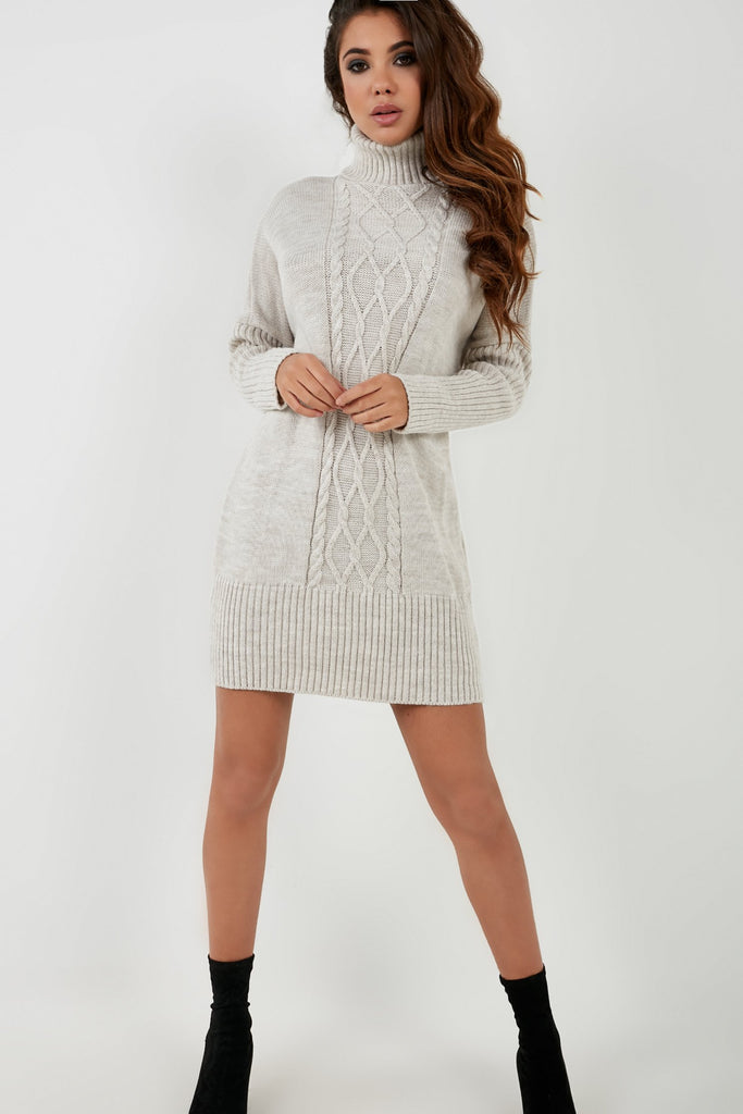 Georgia Stone Cable Knit Jumper Dress (4360552185922)