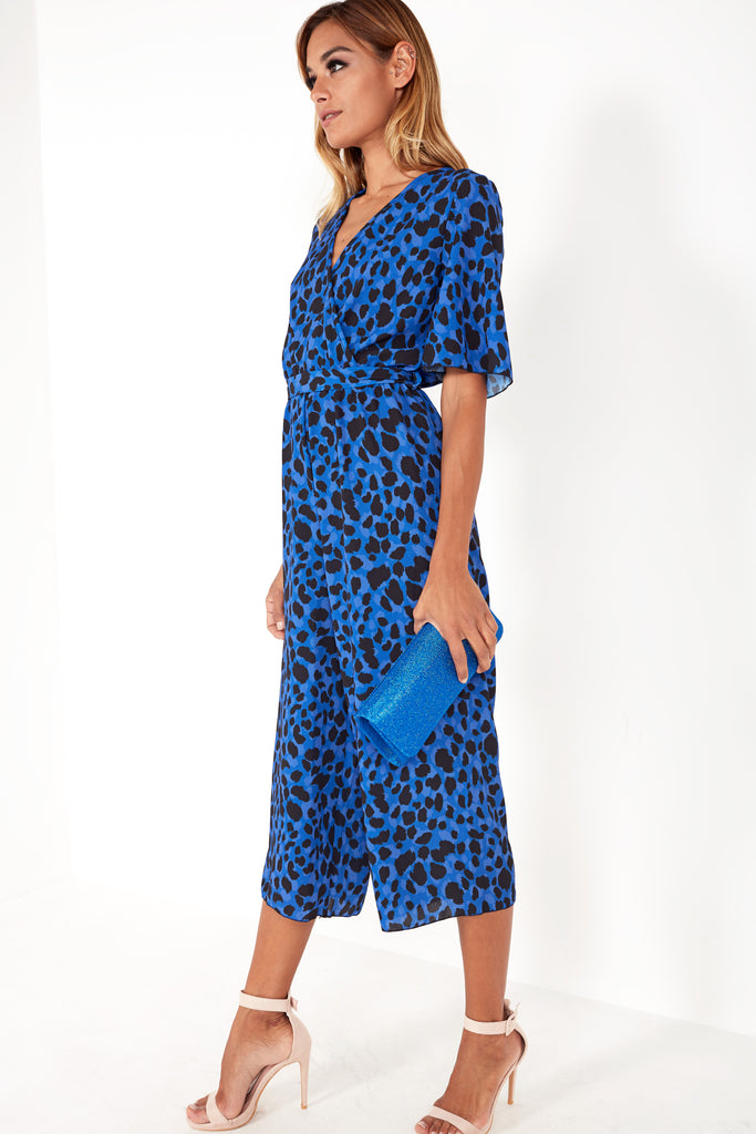 Gerri Blue Animal Print Wrap Front Jumpsuit