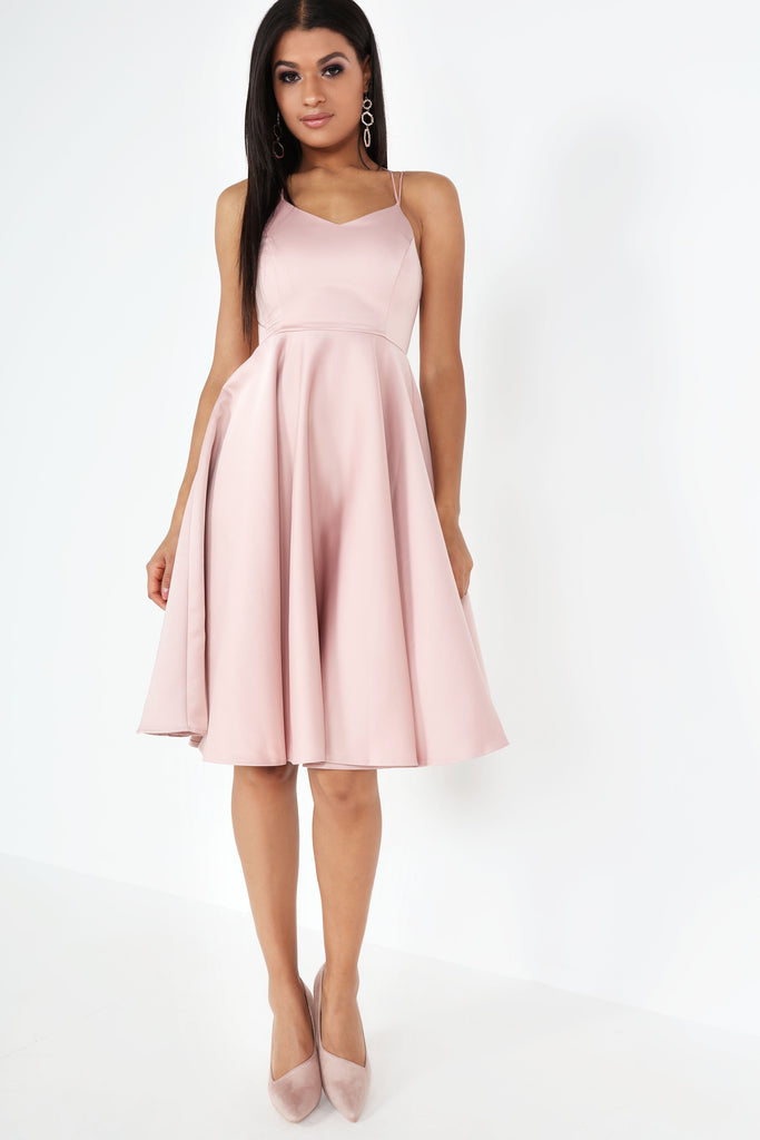 Gertude Pink Satin Prom Style Dress