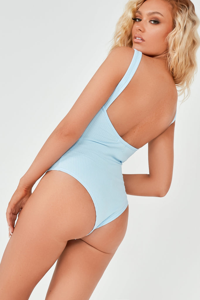 Gia Blue Highneck Ribbed Bodysuit