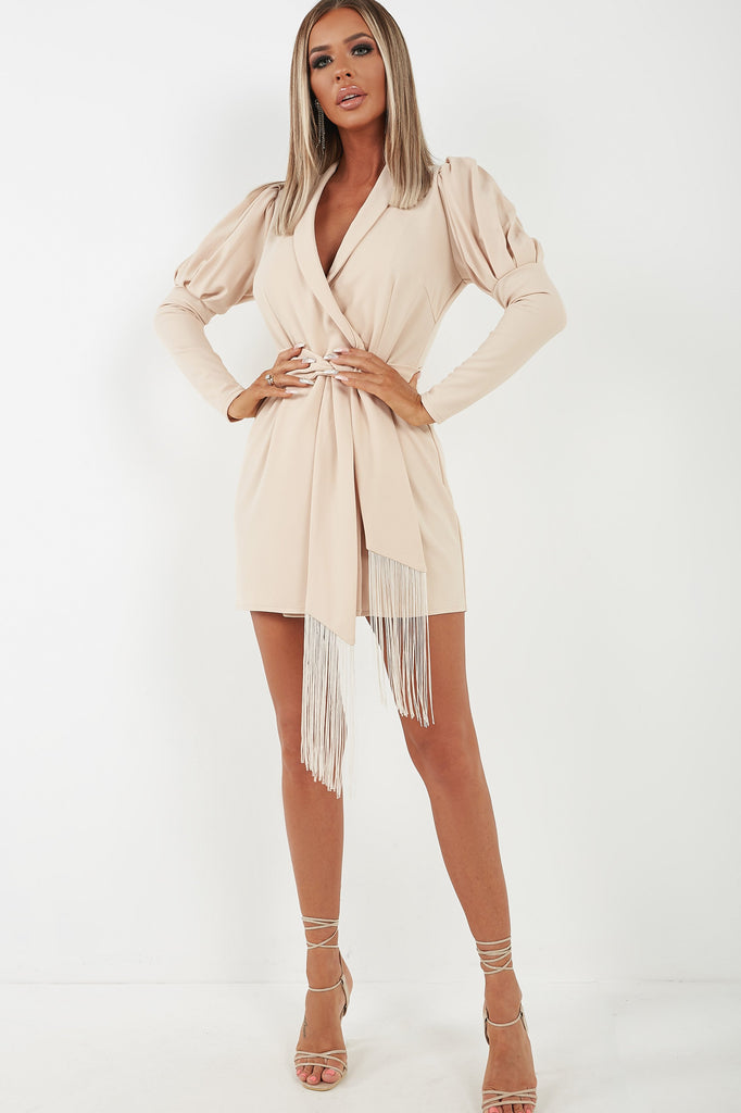 Gia Nude Puff Sleeve Tuxedo Dress