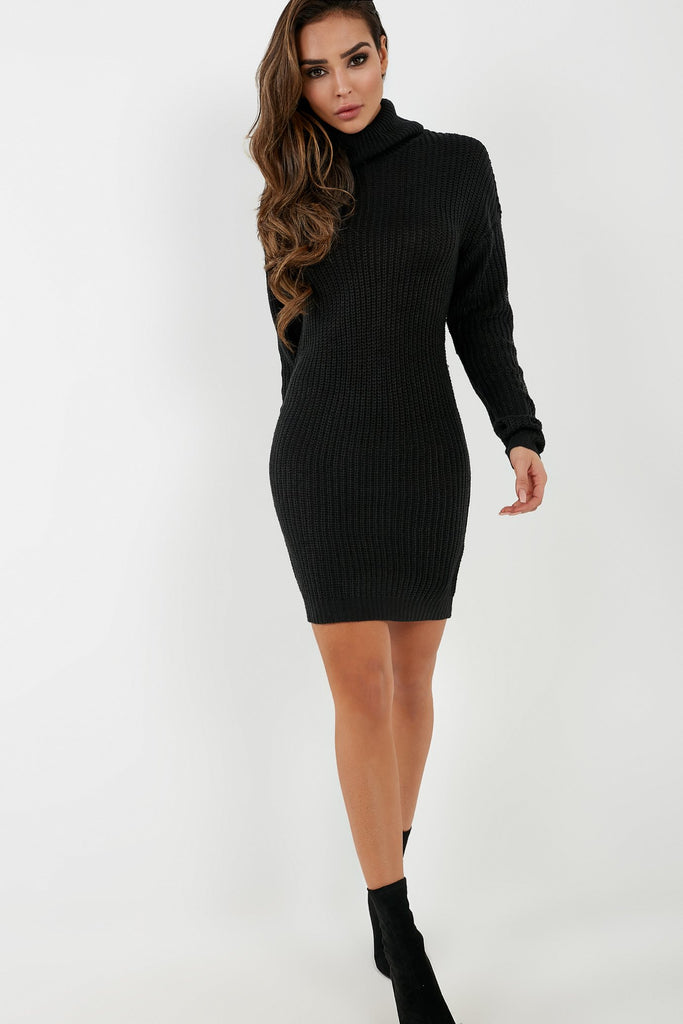 Gianna Black Roll Neck Knit Jumper Dress (2032922984514)