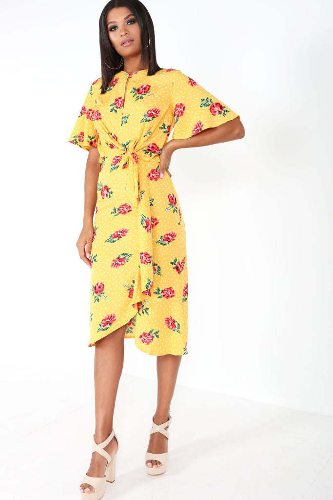 Gilda Yellow Floral Frill Midi Dress