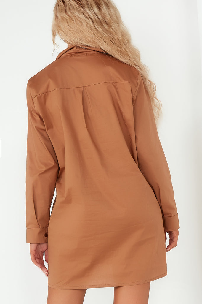 Gillian Camel Ruched Front Shirt Dress