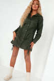 Gillian Khaki Ruched Front Shirt Dress