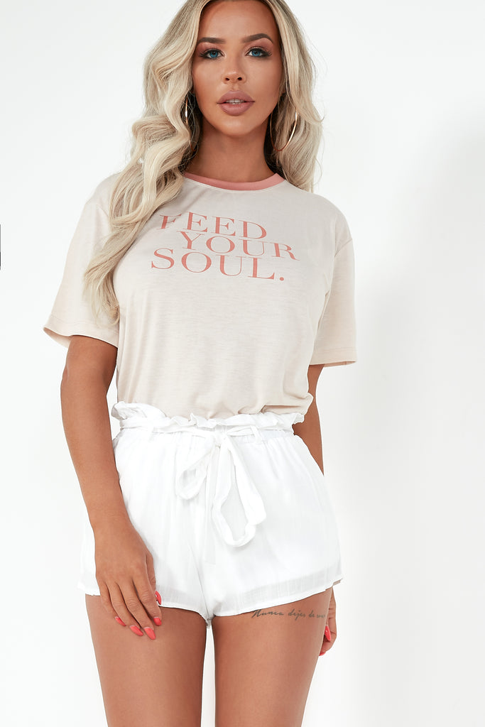 Gillie Light Pink 'Feed Your Soul' Slogan T-Shirt