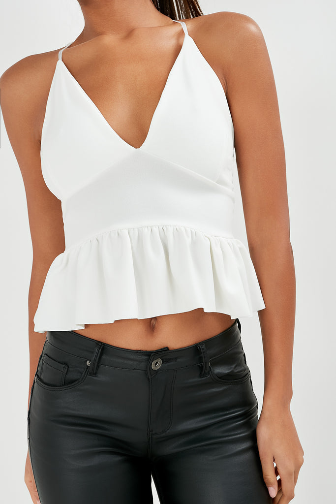 Gilma White Peplum Cami Top (1762765439042)