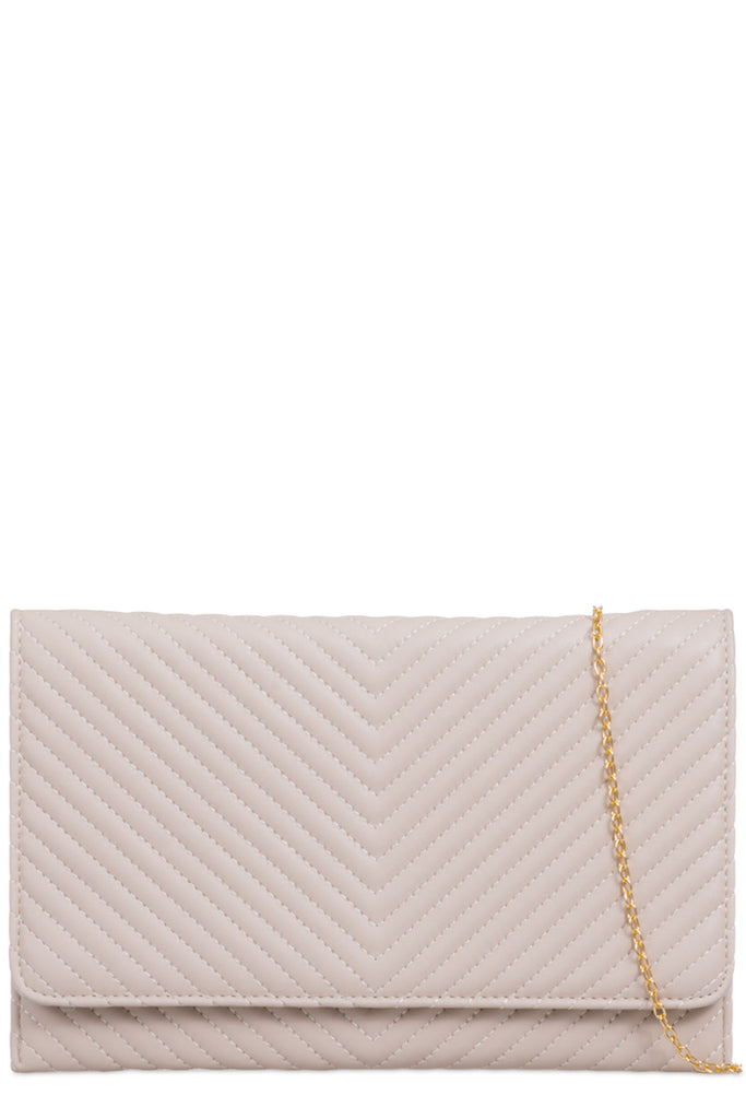 Gina Beige Quilted Clutch Bag