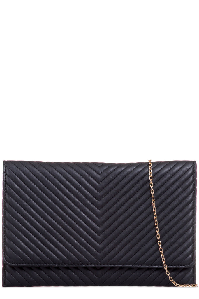 Gina Black Quilted Clutch Bag