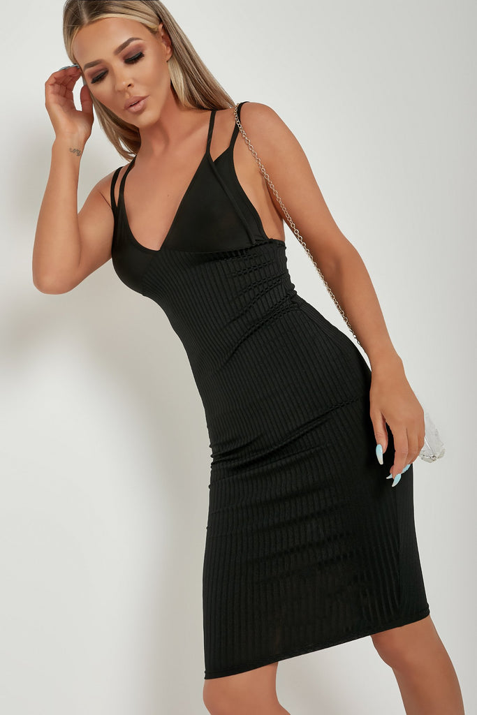 Gina Black Strappy Midi Bodycon Dress