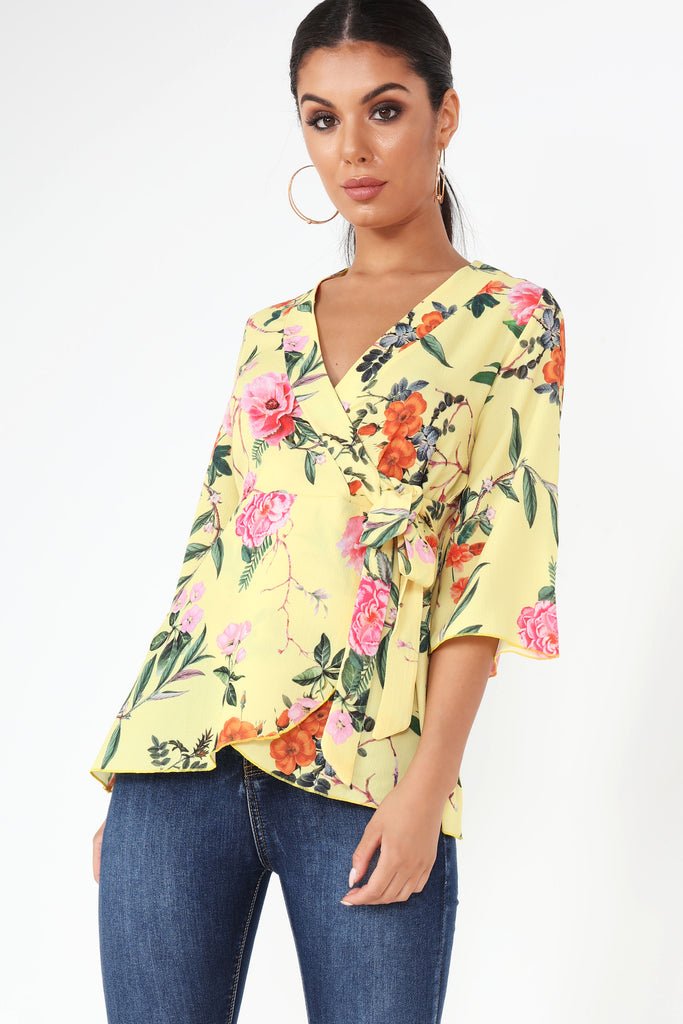 Ginger Yellow Floral Wrap Top