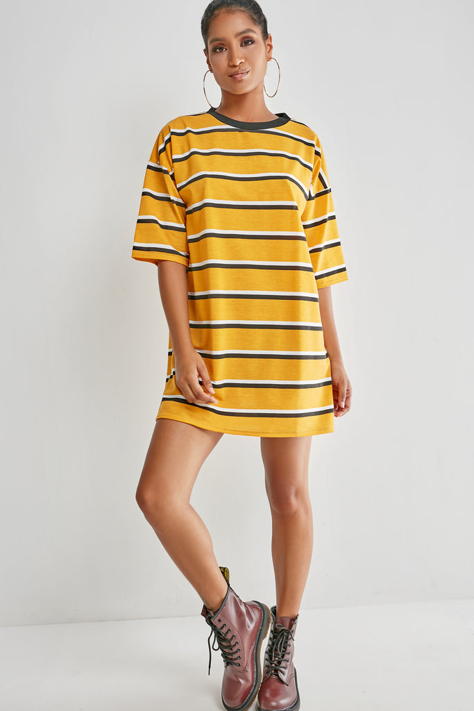 Ginnie Mustard Striped T-Shirt Dress (1982996316226)