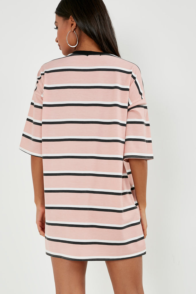Ginnie Pink Striped T-Shirt Dress (1799735377986)