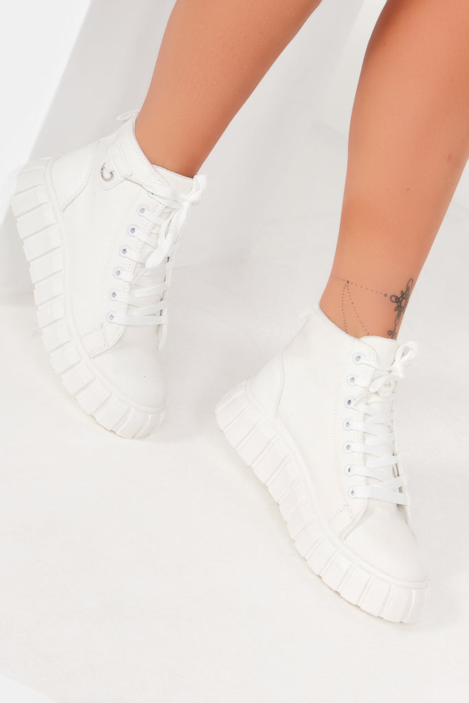 Ginny White Cleated Sole High Top Trainer