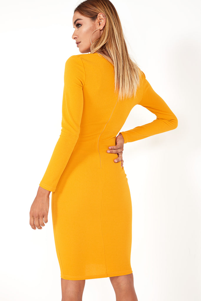 Ginsey Mustard Ruched Dress