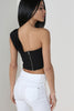 Gioia Black One Shoulder Crop Top