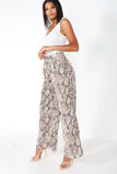 Giovanna Snake Print Wide Leg Trousers
