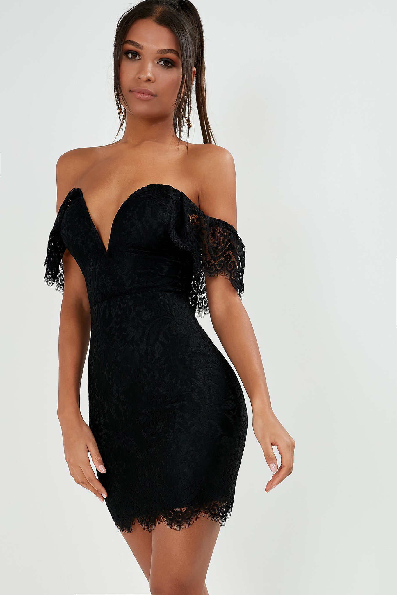 5dc06eff0a85 Gitika Black Lace Bardot Dress. €36.99. Previous