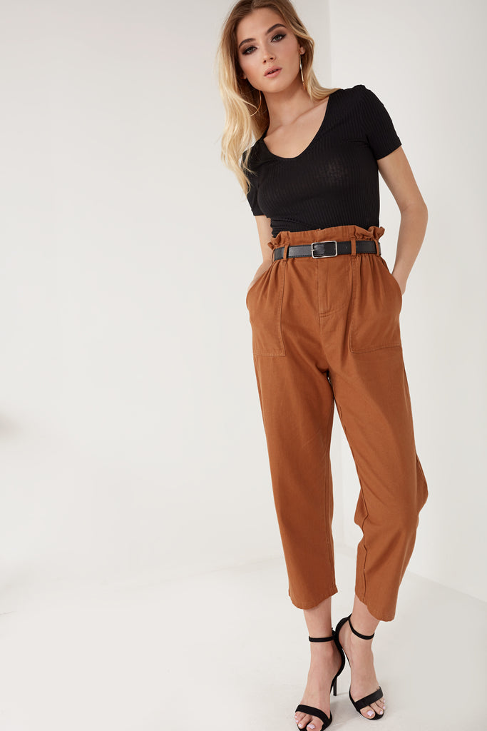 Gladdie Camel Paperbag Cargo Trousers