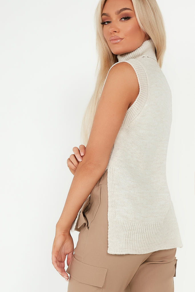 Gladie Cream Roll Neck Sweater Vest
