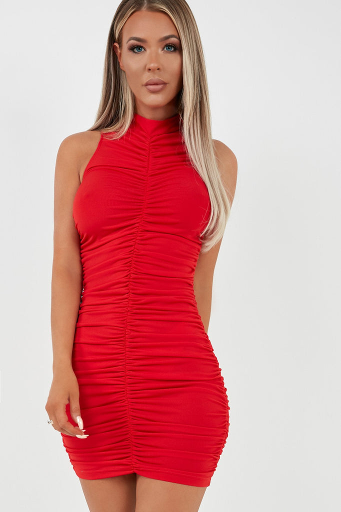 Gladis Red High Neck Ruched Mini Dress (1996586942530)