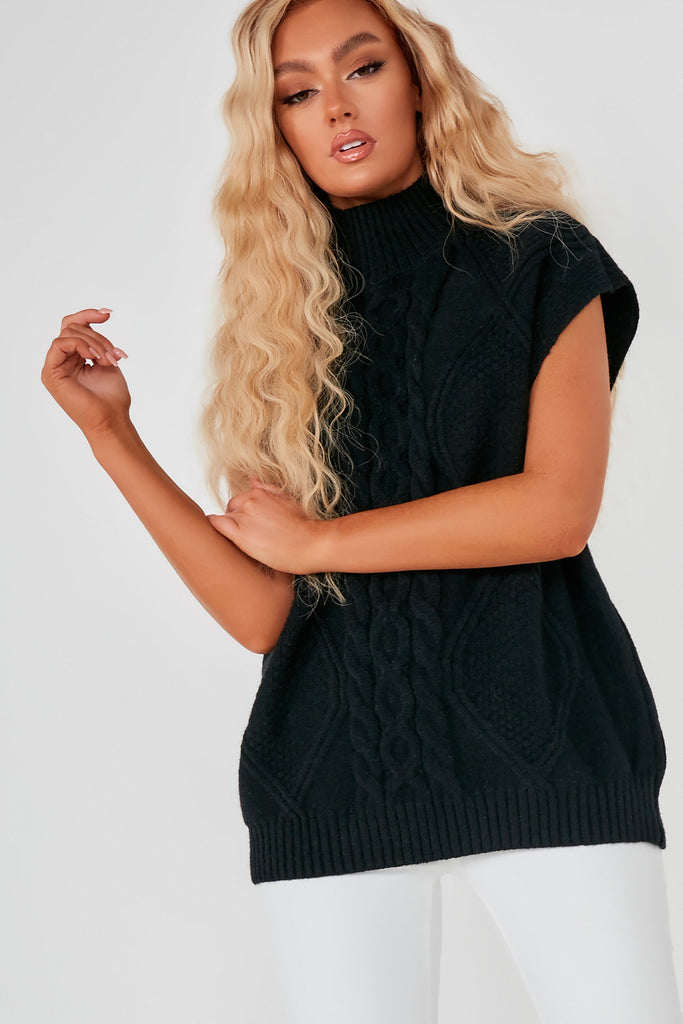 Glenda Black Cable Knit Sleeveless Jumper