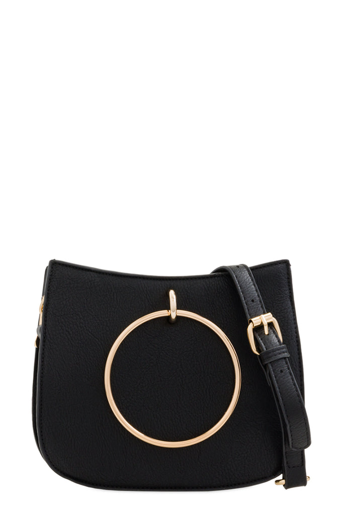 Gloria Black Leatherette Shoulder Bag