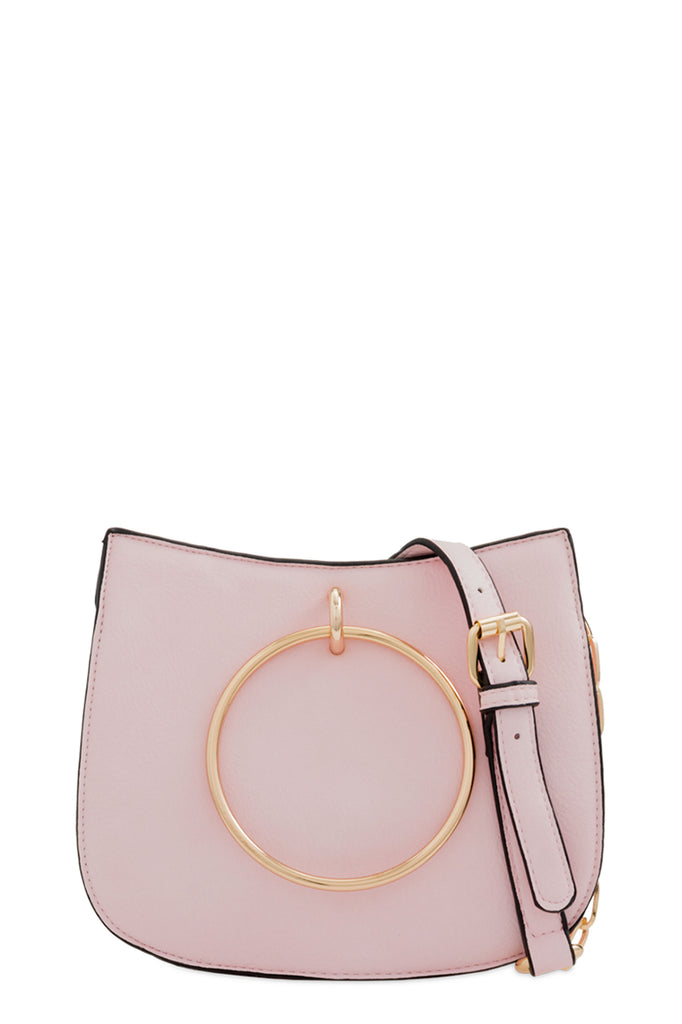 Gloria Pink Leatherette Shoulder Bag