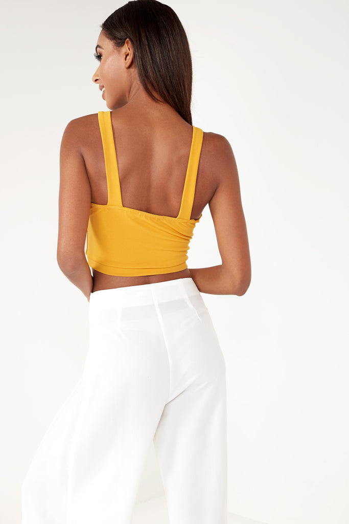 Gloriana Mustard Button Detail Crop Top